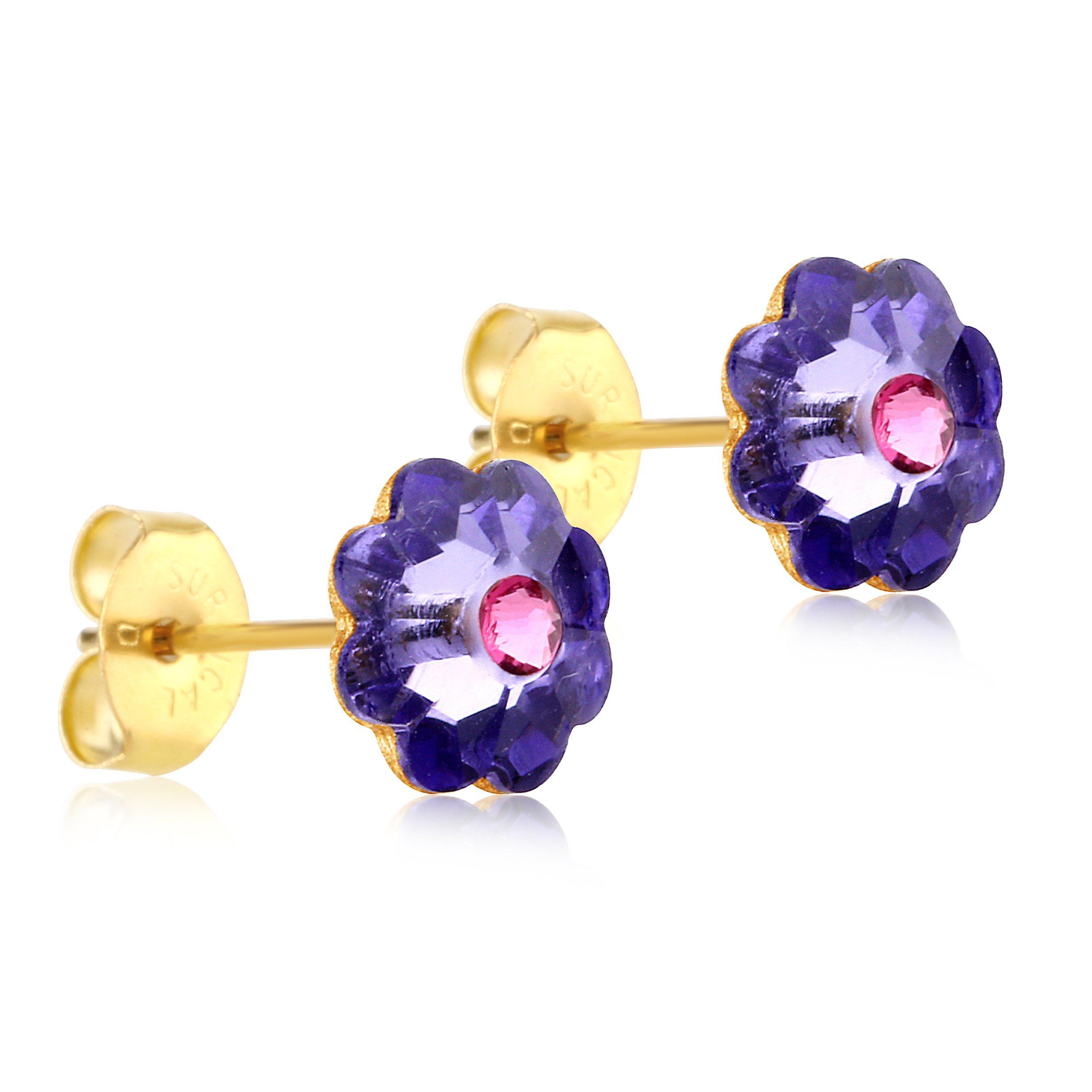 24K Gold Coated Stud Earrings with 8mm Purple Swarovski Crystal Flowers