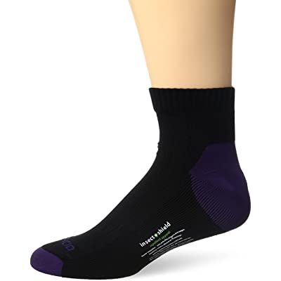 .com : ExOfficio BugsAway Sol Cool Quarter Sock, BlackBerry, Small/Medium : Clothing