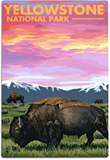 product image for Lantern Press Yellowstone National Park, Wyoming - Bison and Sunset 48333 (6x9 Aluminum Wall Sign, Wall Decor Ready to Hang)