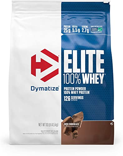 Dymatize Elite 100 Whey Protein Powder, 25g Protein, 5.5g BCAAs 2.7g L-Leucine, Quick Absorbing Fast Digesting for Optimal Muscle Recovery, Rich Chocolate, 10 Pound