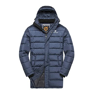 49810c09eda TIGER FORCE Mens Active Puffer Jackets Outerwear Winter Quilted Long Coats  with Hoodie Warm Sport Snow Hooded Jacket Bluegray at Amazon Men's Clothing  store ...