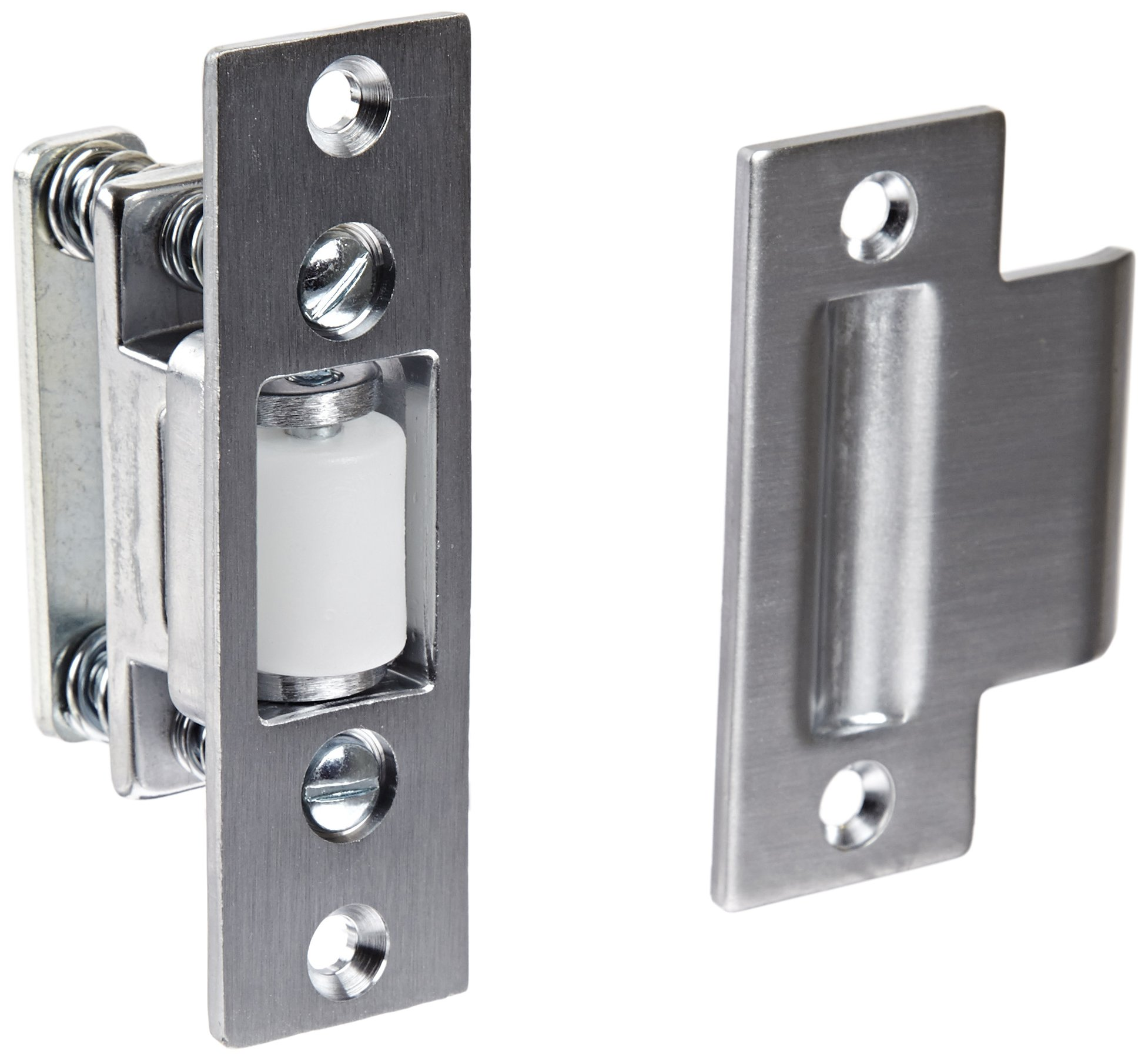 Rockwood 592.26D Brass Roller Latch with #161 Strike, 1'' Width x 3-3/8'' Length, 1-1/8'' Strike Width x 2-3/4'' Strike Length, Satin Chrome Plated Finish
