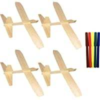 Guillow's Balsa Wood Jetfire Gliders | Wooden Model Airplane Construction Kits | 12-Inch Customizable Unfinished Blank DIY Flying Toy Planes | 4-Pack with 5 Color Markers from KYGON