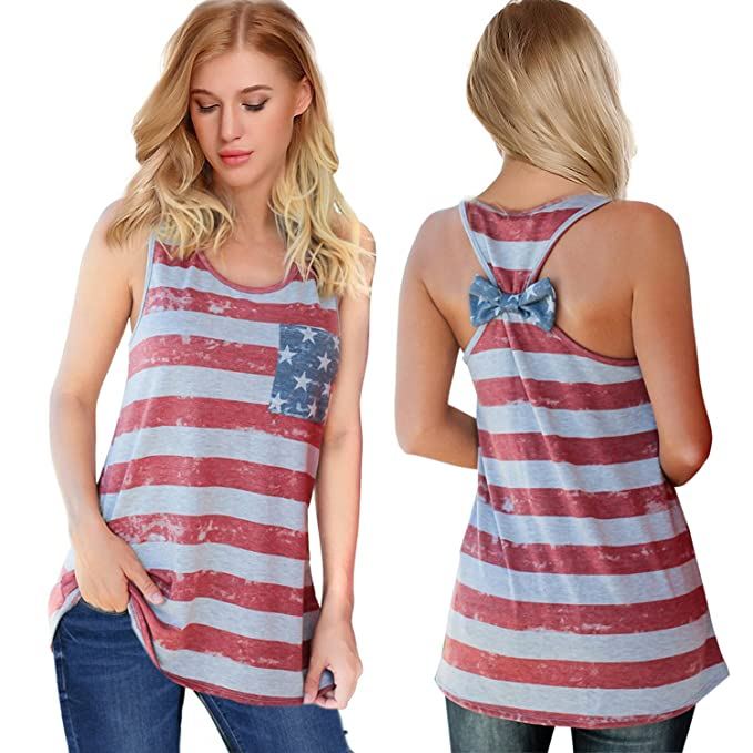 3ae7dcf3 Womens Patriotic American Flag Print Summer Sexy Sleeveless T-Shirts Tank  Top (XS,