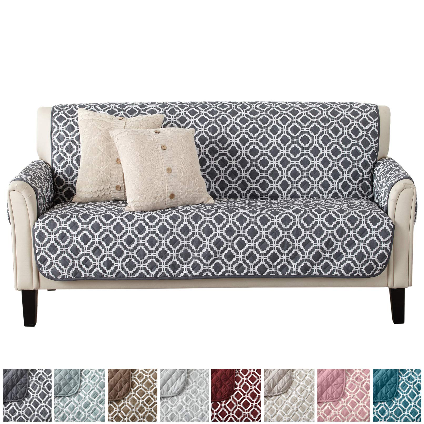 Modern Printed Reversible Stain Resistant Furniture Protector with Geometric Design. Perfect Cover for Pets and Kids. Adjustable Elastic Straps Included. Liliana Collection (Sofa, Steel Grey)