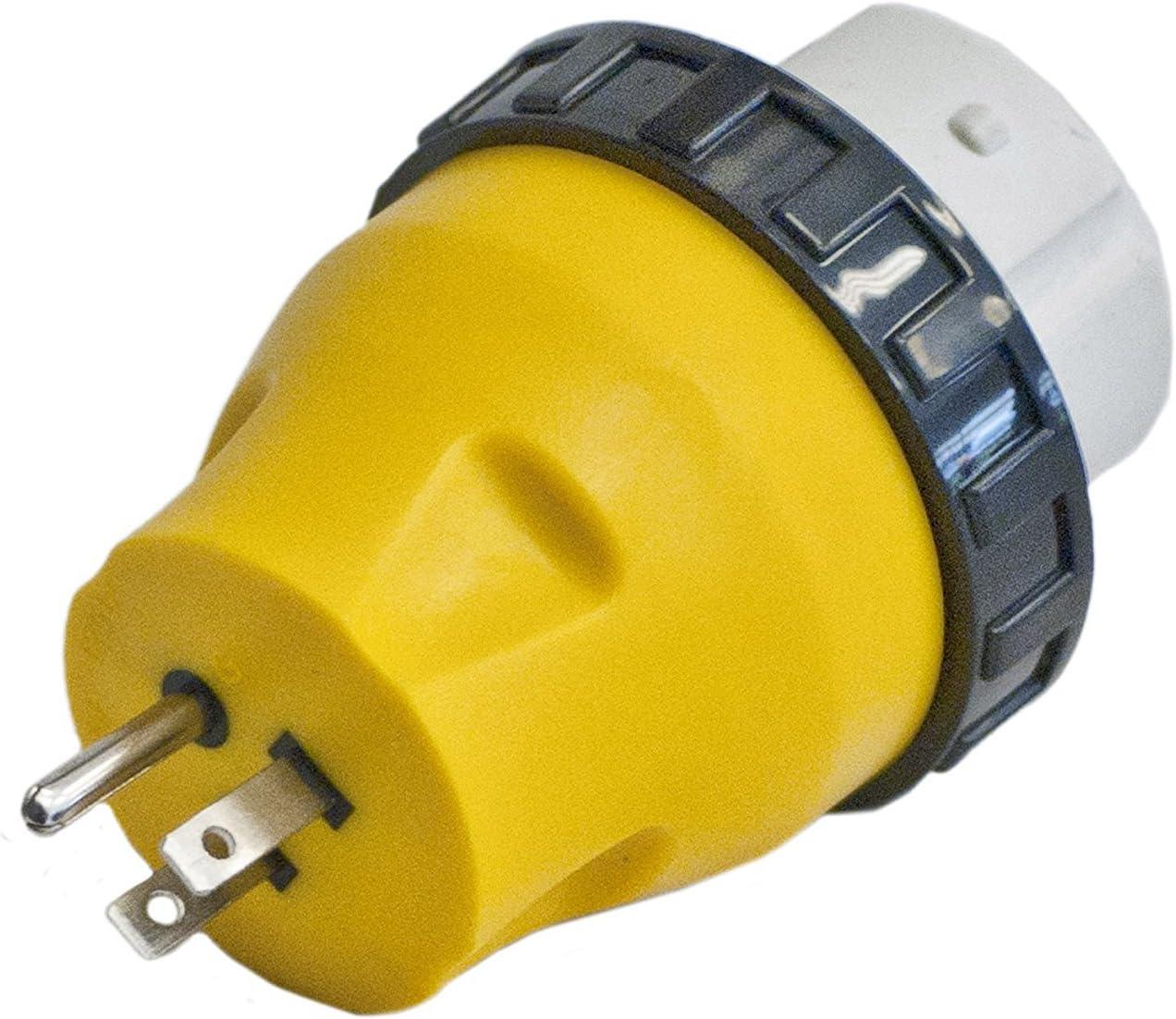 ALEKO L15-50 RV Electrical Locking Adapter 15A Male To 50A Female Locking Plug Connector