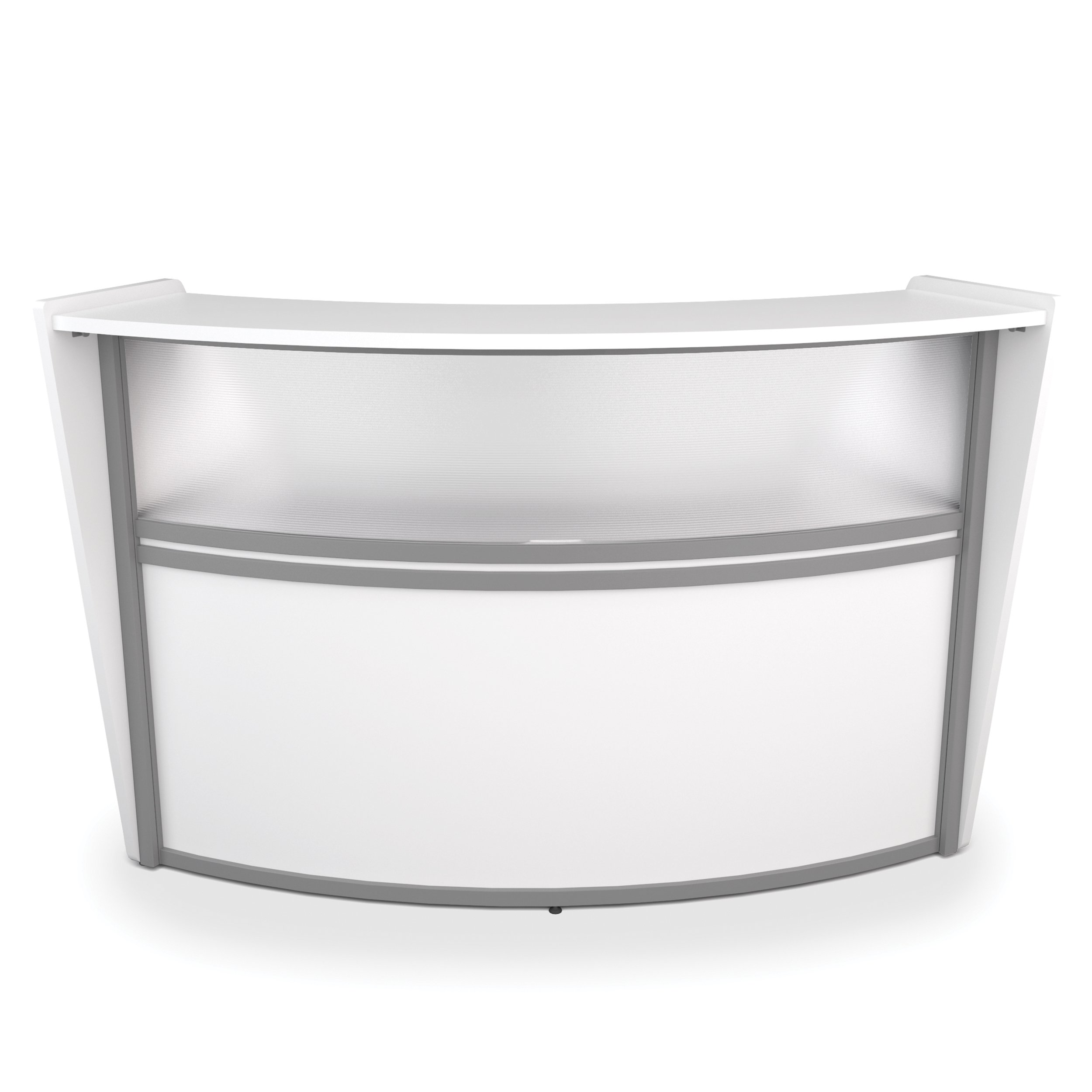 OFM Marque Series Plexi Single-Unit Curved Reception Station - Office Furniture Receptionist/Secretary Desk, White (55310-WHITE)