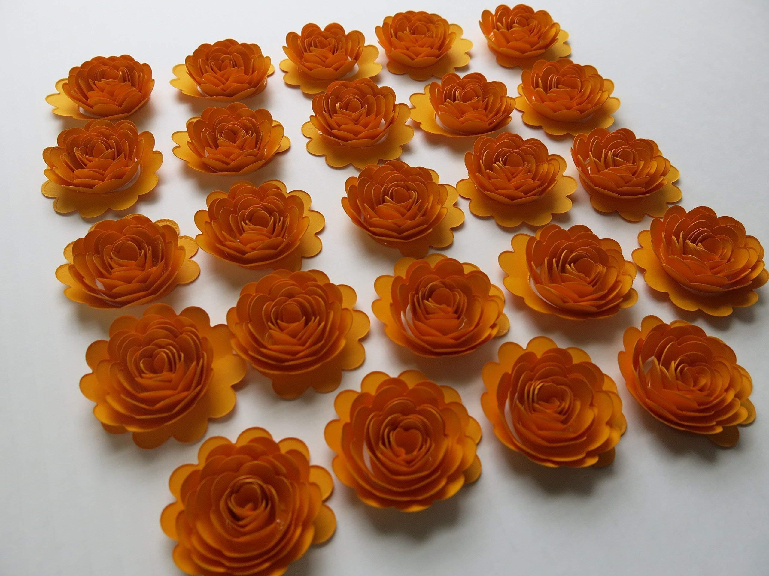 silk flower arrangements 24 gold paper flower carnations 1.5 inch scalloped roses autumn mum thanksgiving dinner table decor