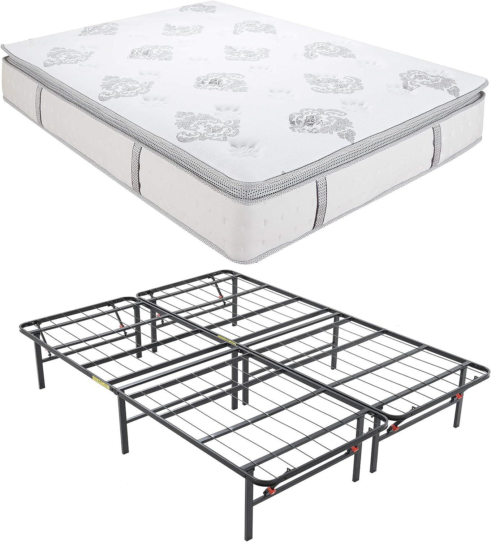 Classic Brands Decker Hybrid Memory Foam and Innerspring 10.5-Inch Mattress withHercules Heavy-Duty 14-Inch Platform Metal Bed Frame, Queen