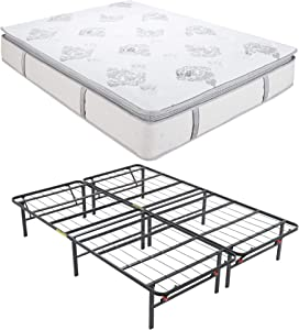 Classic Brands Decker Hybrid Memory Foam and Innerspring 10.5-Inch Mattress with Hercules Heavy-Duty 14-Inch Platform Metal Bed Frame, Queen