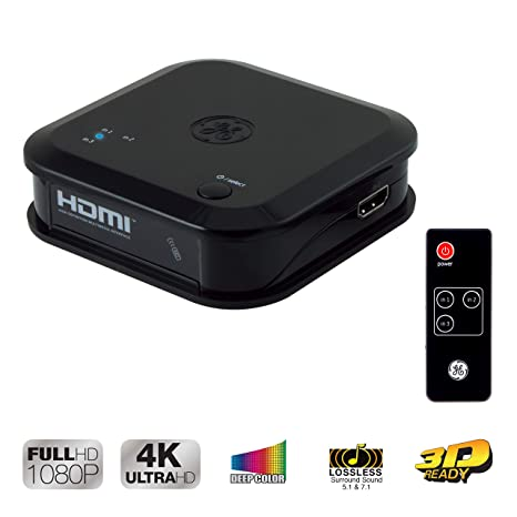 GE 3 Device HDMI Switch, Wireless Remote, Use with 4K TV Smart TV Roku Xbox  PS3 PS4 Fire Stick DVD Blu Ray Fire TV HDTV Cable Box PC, 4K 1080p 30 FPS,