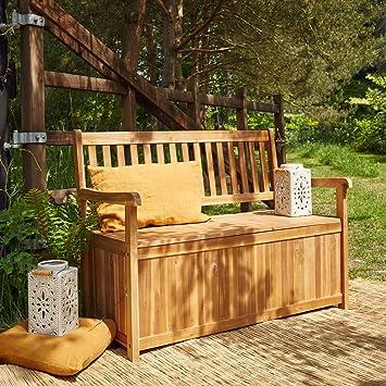 Banc Coffre En Bois Dacacia Fsc Amazonfr Jardin