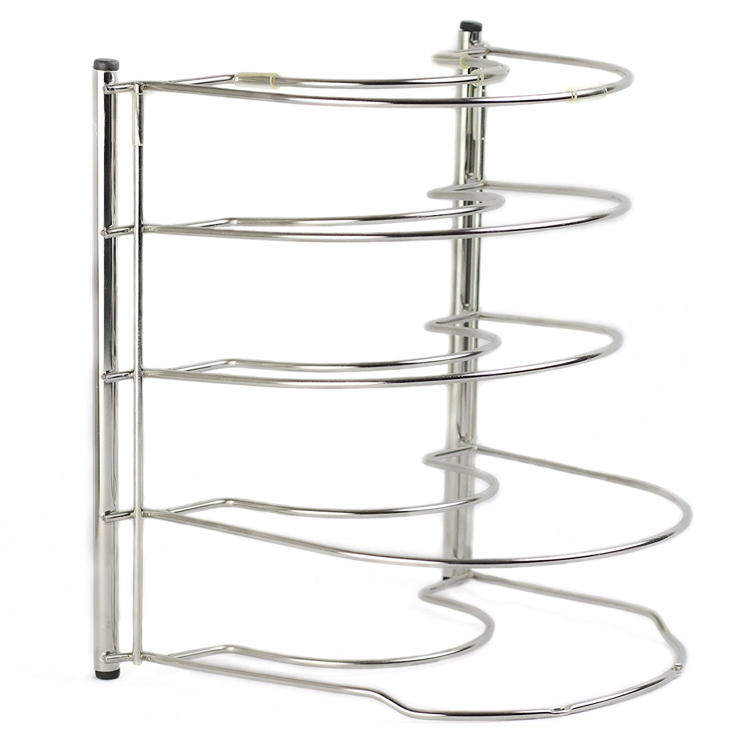 Ensteelo - Heavy duty Kitchen Pan Holder and Pot Organizer Rack | Made of high-grade Stainless Steel | Anti-slippery and anti-scratch silicone covers | No assembly required