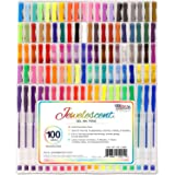US Art Supply Jewelescent 100 Unique Color Gel Pen Set - Professional Artist Quality Gel Ink Pens in Vibrant Colors - Standard, Glitter, Metallic, Neon, and Pastel - 100% Satisfaction Guarantee
