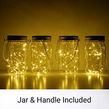 4 Pack Mason Jar Lights 10 LED Solar Warm White Fairy String Lights Lids for Patio Garden Party Wedding Christmas Decorative Lighting Fit for Regular Mouth Jars(Jars Included)