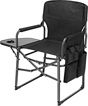 Ubon Steel Frame Folded Director's Chair Portable Camping Chair with Side Table Black