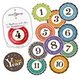 """Amazon Price History for:LIMITED TIME SALE! Original Stick'Nsnap(TM) 12 unisex """"Happy Colors"""" (TM) milestones first year monthly growth stickers, with re-sealable pouch. 3.25'', Great Baby Shower Gift!"""