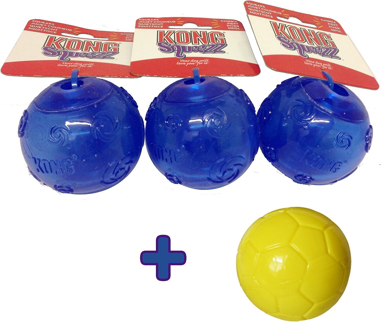 3 pelotas medianas Kong Squeezz, color azul + 1 pelota de fútbol ...