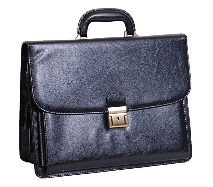 576c8b688a1f Mens new leather look briefcase lockable clasp office business ...
