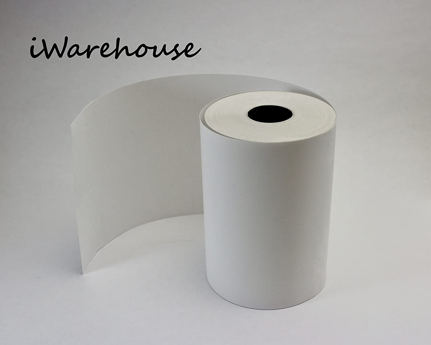 2 -1/4 x 62 ft Thermal Paper Rolls 100 Count by iWarehouse | Credit or Debit Card terminal, wireless terminal, Hard Plastic Core NO PAPER WASTAGE| Platinum White Paper , 100 Rolls per Box