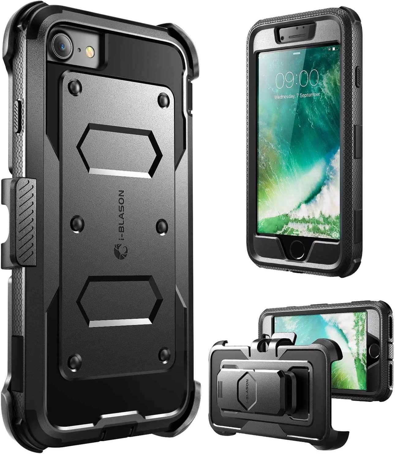 i-Blason Armorbox Case Designed for iPhone SE2 2020 /iPhone 7/iPhone 8, Built in [Screen Protector] Full-Body Rugged Holster Case for iPhone SE 2nd generation, Black