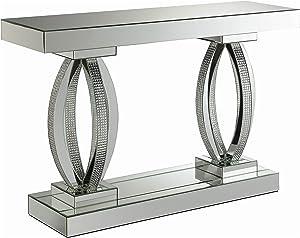 Coaster Home Furnishings Rectangular Shelf Clear Mirror Sofa Table, Silver