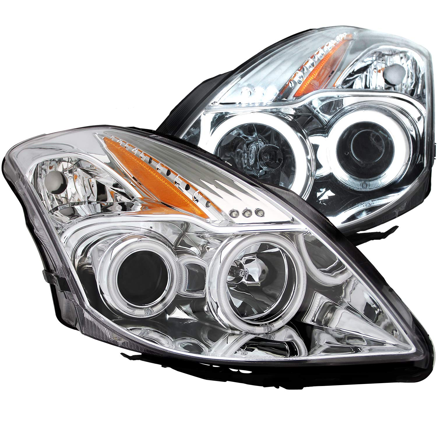 AnzoUSA 121395 Black//Clear//Amber Projector Headlight for Nissan Altima