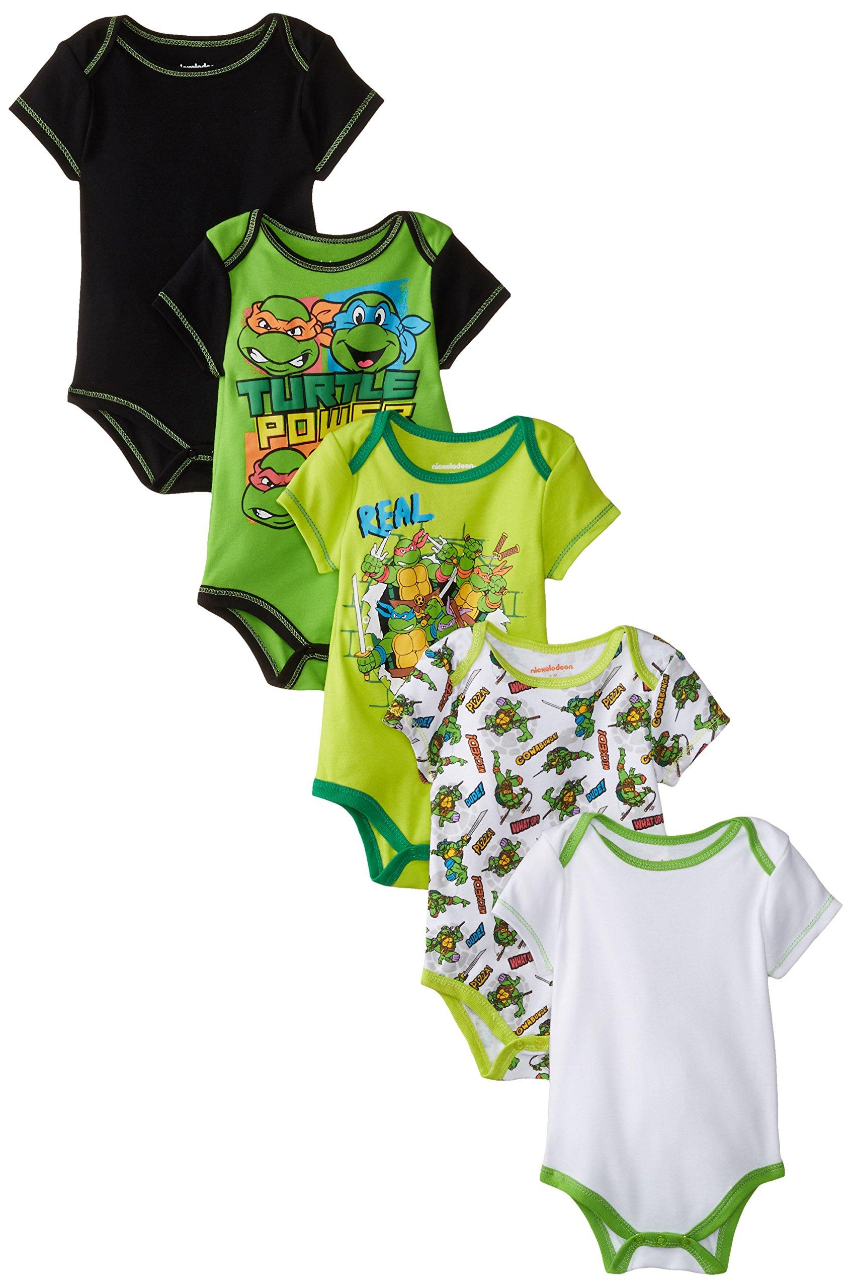 Nickelodeon Baby Boys' Teenage Mutant Ninja Turtles (TMNT) Bodysuits 5 Pack