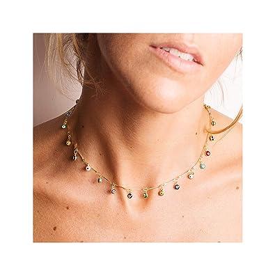 32488e9c345b3e Mevecco Gold Dainty Evil Eye Tassel Choker Necklace,14K Gold Plated Cute Tiny  Beaded Protection