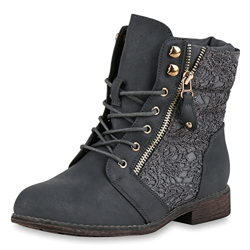 e823c0bad3f2dd napoli-fashion Damen Schnürstiefeletten Spitze Stiefeletten Zipper Worker  Boot Jennika