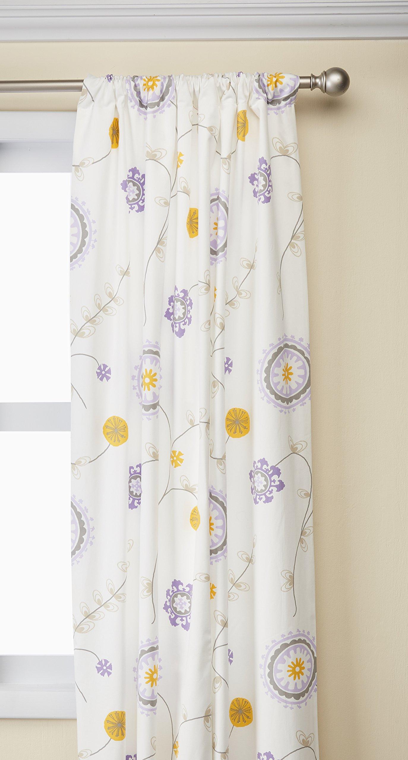 Sweet Potato Fiona Drapery Panels Floral, White/Purple/Yellow