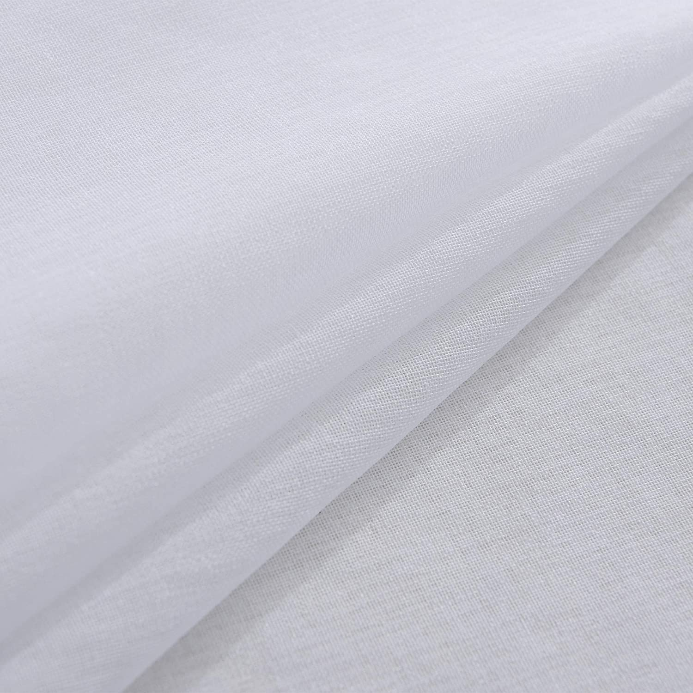 Polyester Aqua 160 x 140 cm-mit Stangendurchzug FLOWEROOM Lot de 2 Rideaux en Voile Transparent avec /œillets