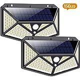 Luz Solar Exterior[Clase de Eficiencia Energética A+] iPosible 150 LED 270 °Iluminación de Seis Lados Foco Solar con Sensor de Movimiento Impermeable Lámpara Solar 3 Modos para Jardín 2-Paquete