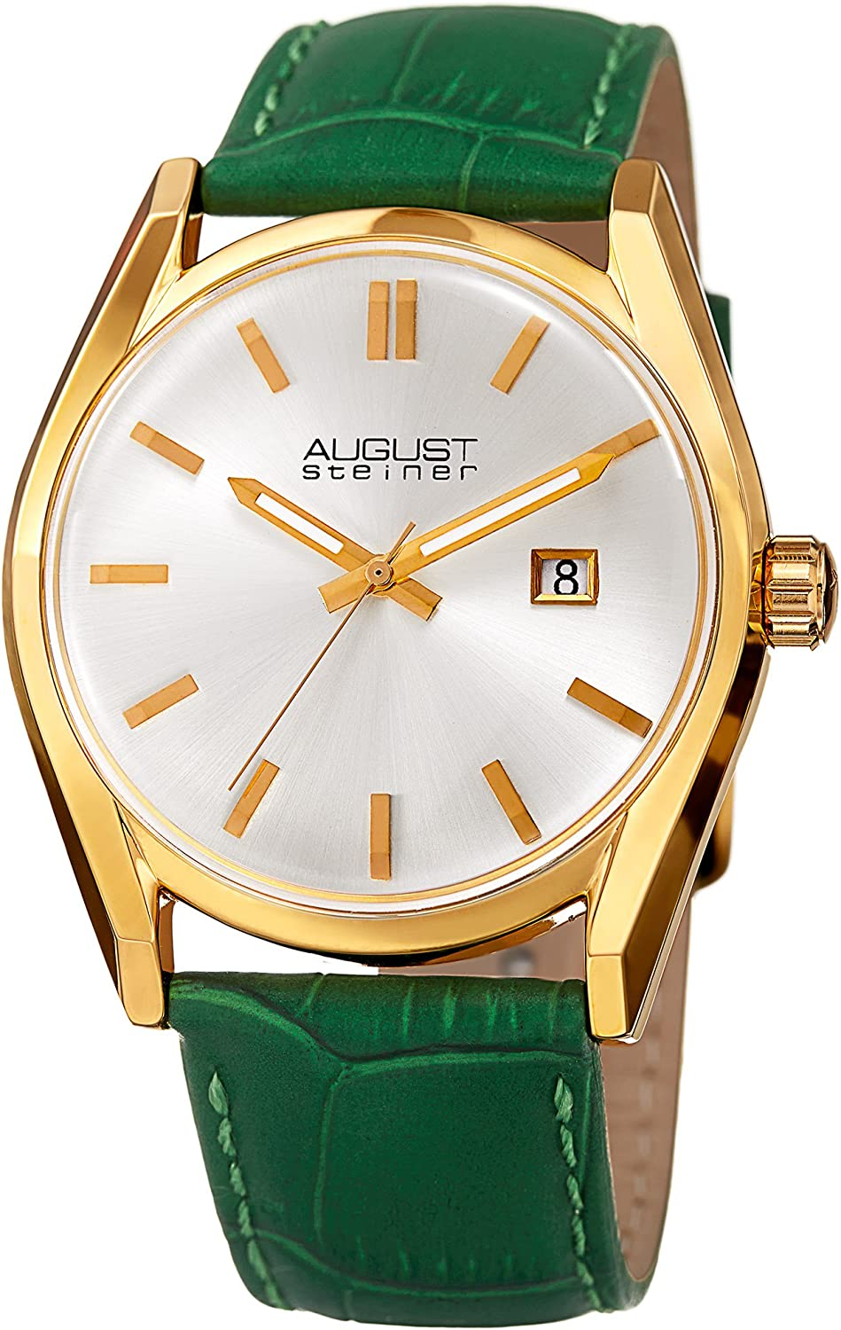August Steiner Women s Radiant Sunray Dial Watch – with Date Window – Alligator Embossed Genuine Leather Strap Watch – AS8221