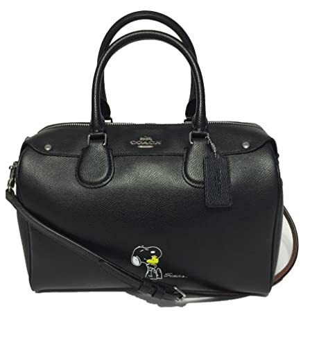 cdf90af3e532 Coach F37271 X Peanuts Snoopy Black Large Bennett Satchel Handbag Limited  Edition  Handbags  Amazon.com