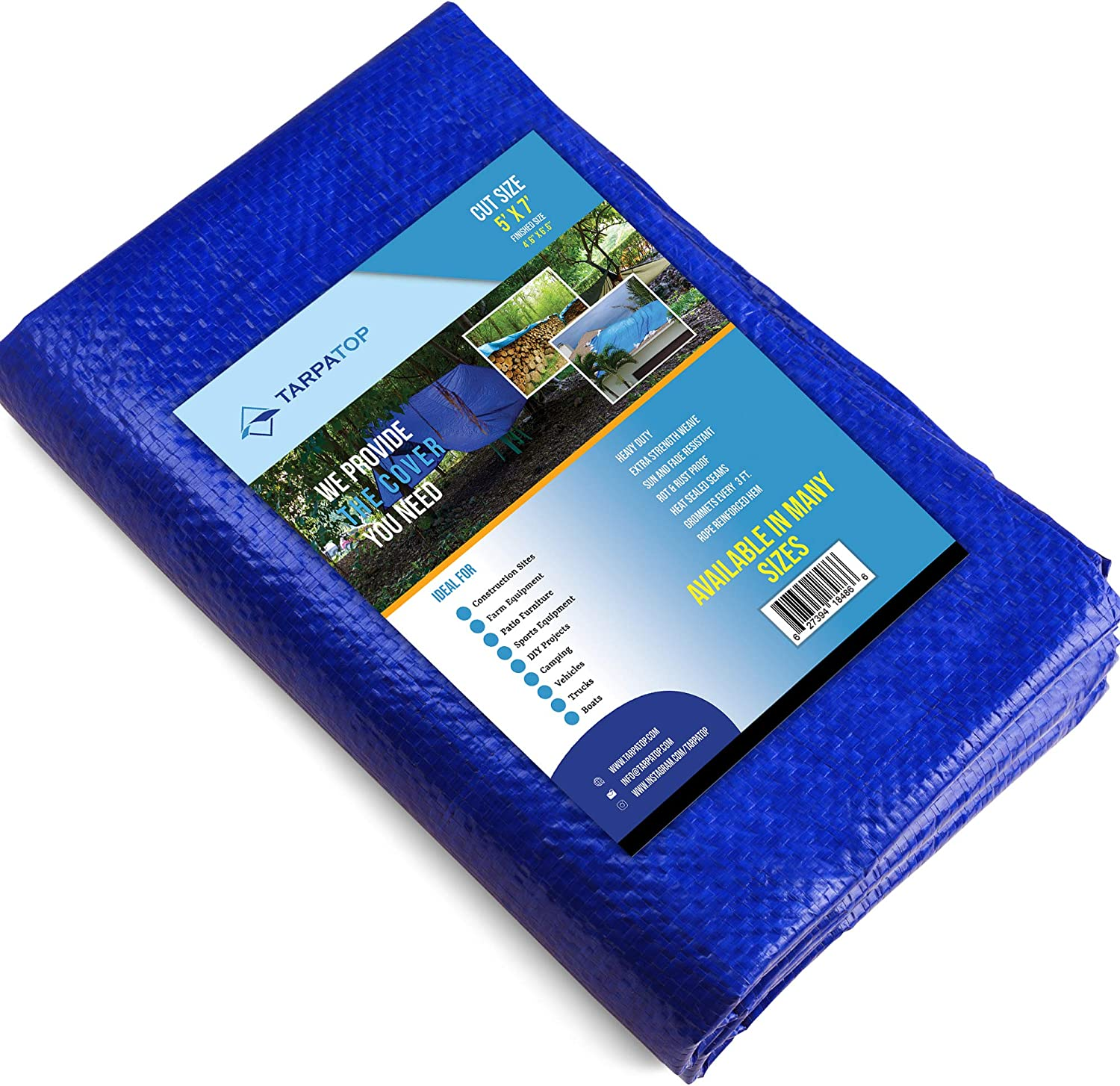 5x7 Waterproof Multi-Purpose Poly Tarp – Blue Tarpaulin Protector for Cars, Boats, Construction Contractors, Campers, and Emergency Shelter. Rot, Rust and UV Resistant Protection Sheet