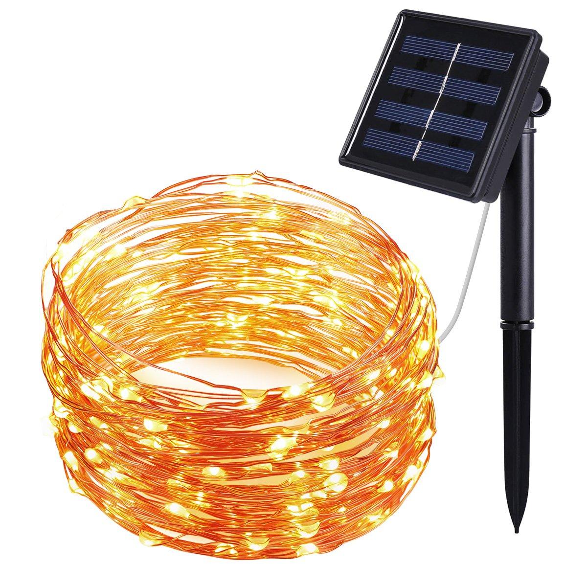 ORIA Solar Lichterkette 8 Modes 100er LED 33ft(10m) Schnur Licht ...