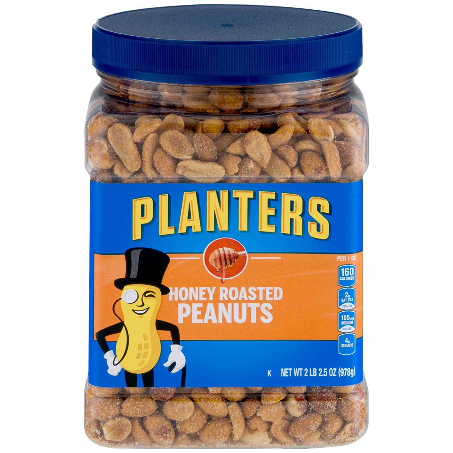 PLANTERS Honey Roasted Peanuts, 34.5 oz. Resealable Jar | Premium Quality Peanuts | Sweet and Salty Snack | Sweet Peanut Snack | Nutritious Snacks & Nuts | Wholesome Snacking | Kosher, pack of 2