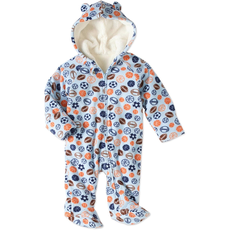 Healthtex Baby Boy Pram Snowsuit Faux Fur Fleece Footed Suit Choose Your Style Sizes Newborn, 0-3,3-6, 6-9 Months