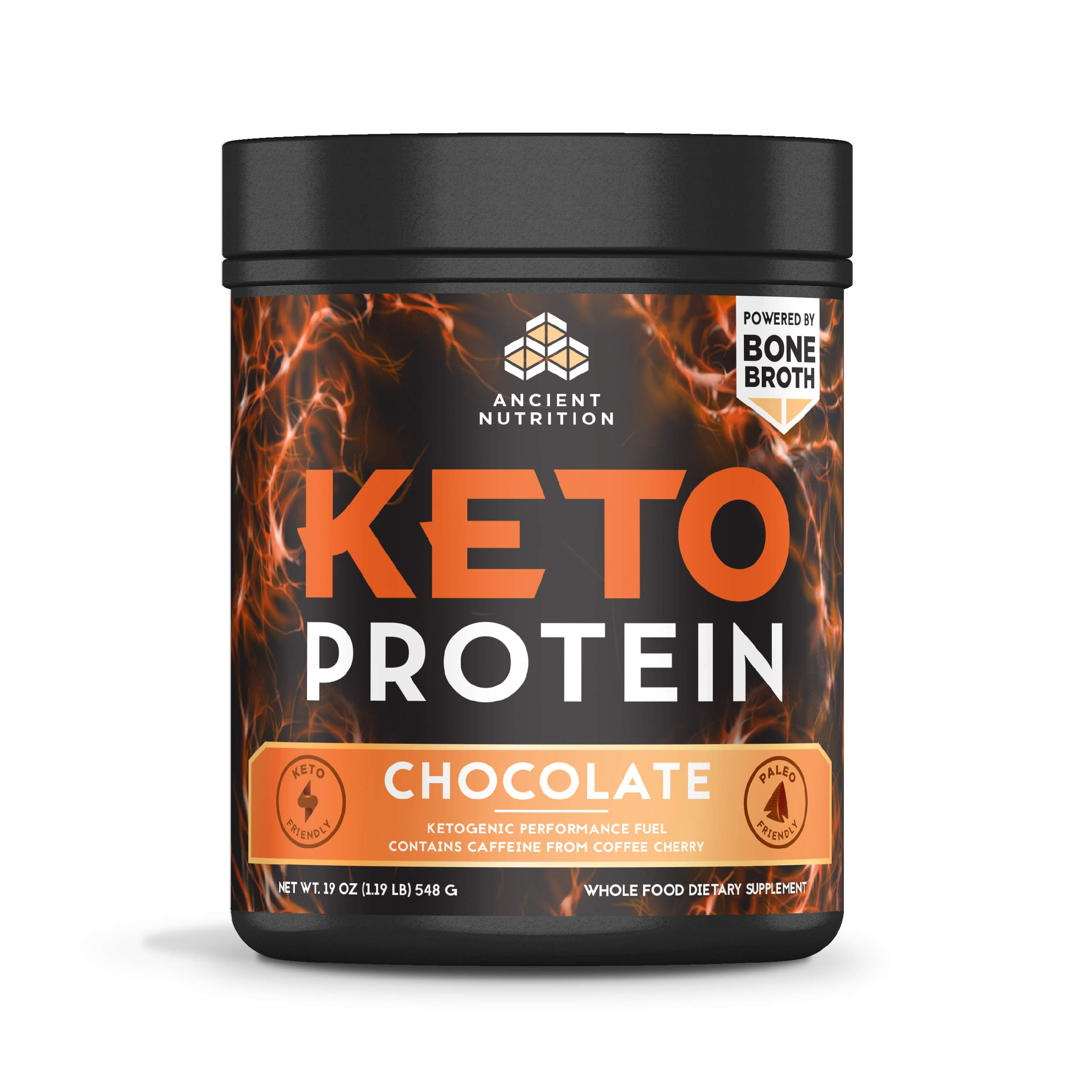 Ancient Nutrition KetoPROTEIN Powder Chocolate, 17 Servings - Keto Protein Diet Supplement, High Quality Low Carb Proteins and Fats from Bone Broth and MCT Oil'' and a Variation Size of'' 17 Servings by Ancient Nutrition