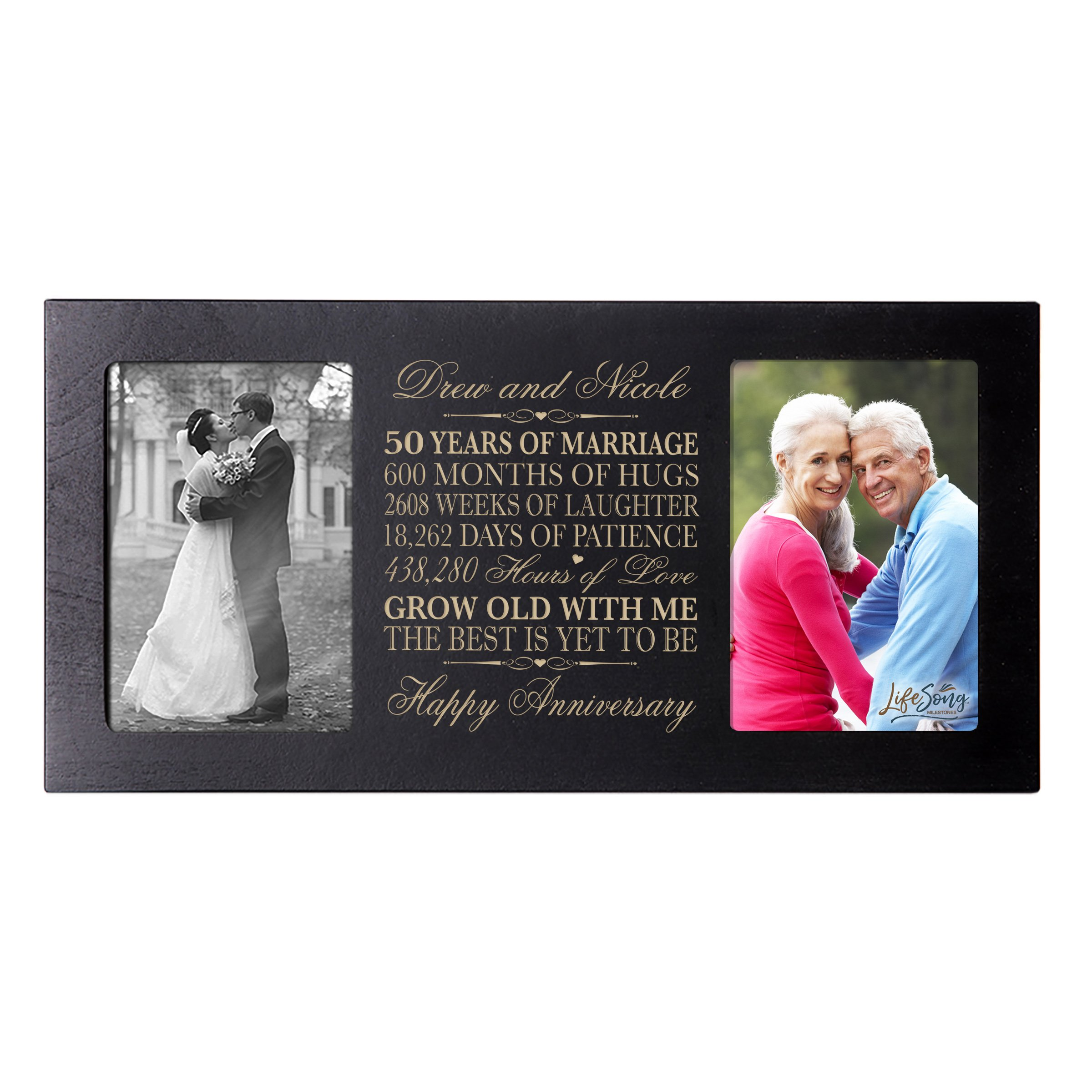 LifeSong Milestones Personalized 50 Year her him Couple Custom Engraved Wedding Celebration for Husband Wife Girlfriend Boyfriend Photo Frame Holds Two 4x6 Photos (Black)