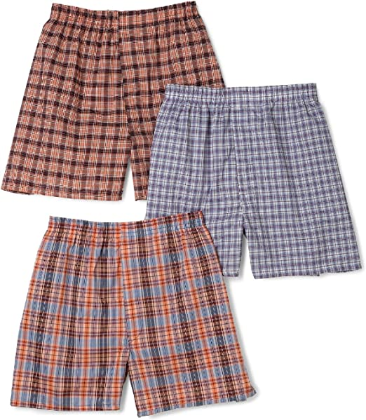 Fruit of the Loom Boys 3Pack Covered Waist Plaid Boxers Underwear