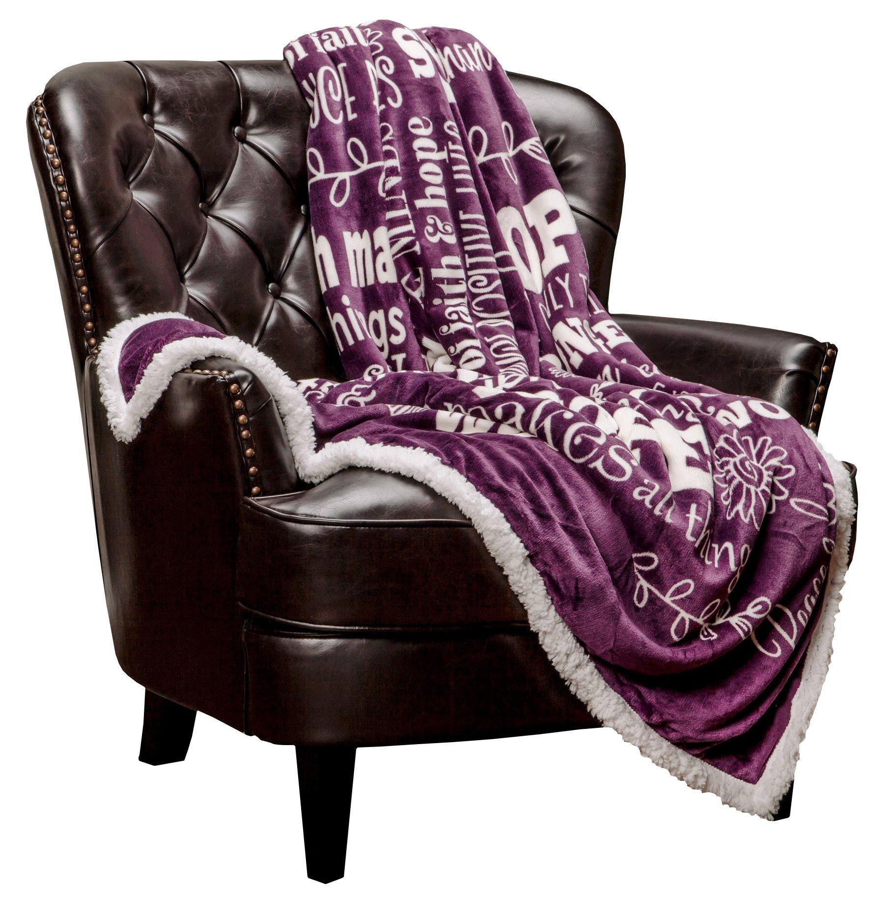 Chanasya Super Soft Ultra Plush Powerful Hope and Faith inspirational Messages Posivite Energy Comfort Caring Uplifting Gift Teal Blue Microfiber Throw Blanket (50'' x 65'') (50'' x 65'', Dark Purple)