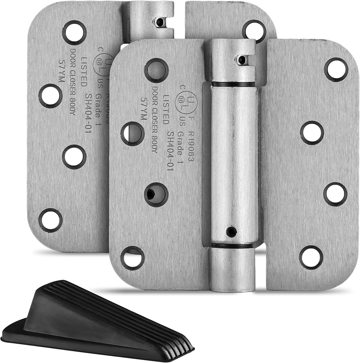 Satin Nickel Finish Self Closing Pack of 4 Hinges Item Includes Rubber Wedge Door Stopper Berlin Modisch 4 x 4 Mortise Spring Hinge with 5//8 Radius Corners