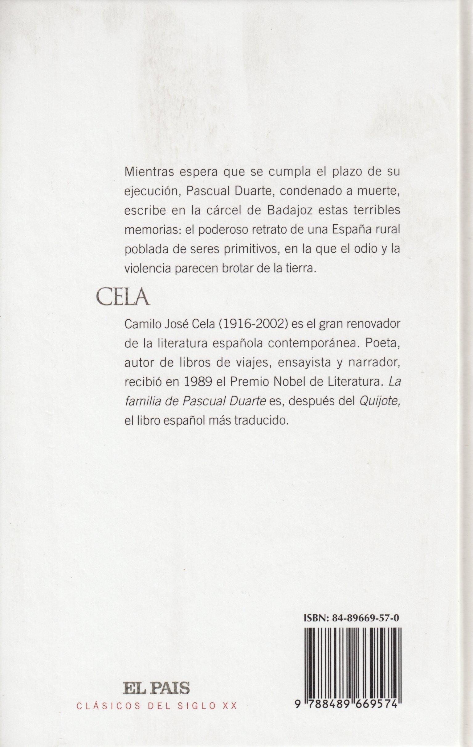 LA FAMILIA DE PASCUAL DUARTE: Amazon.es: Camilo José Cela: Libros