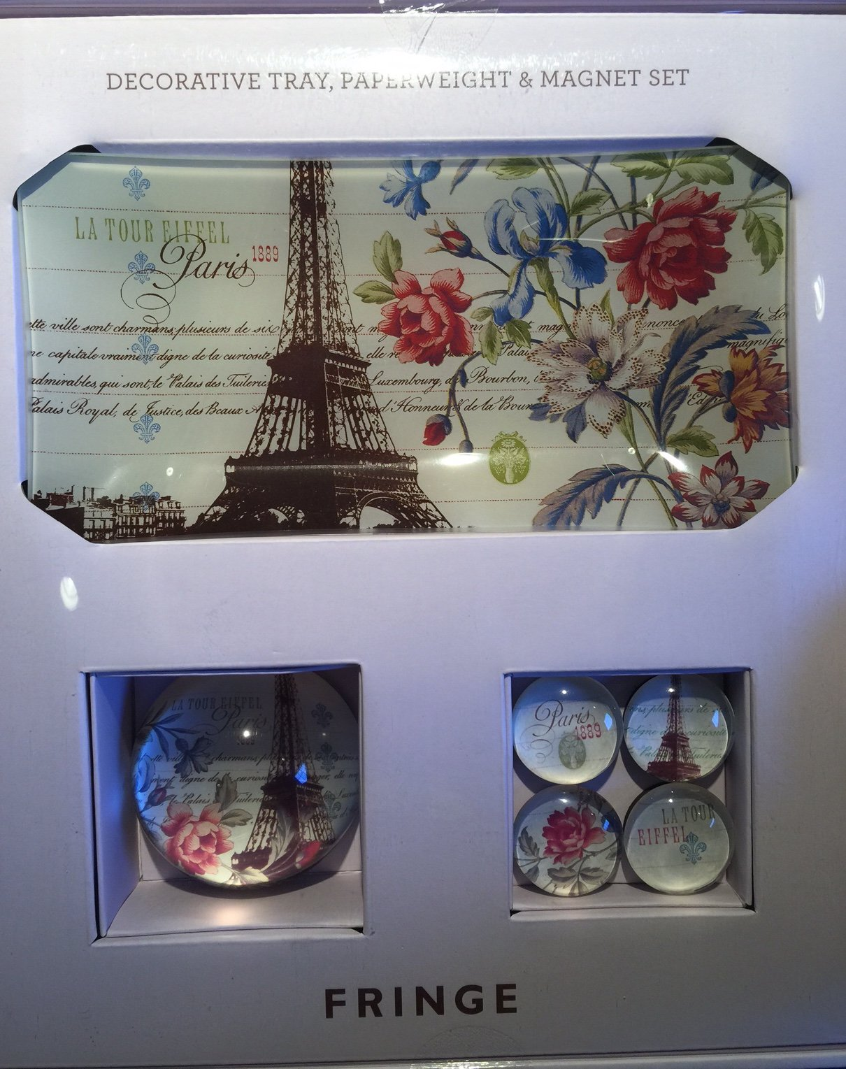 Fringe Decorative Glass Tray Paperweight and Magnet Set PARIS EIFFEL TOWER by Fringe
