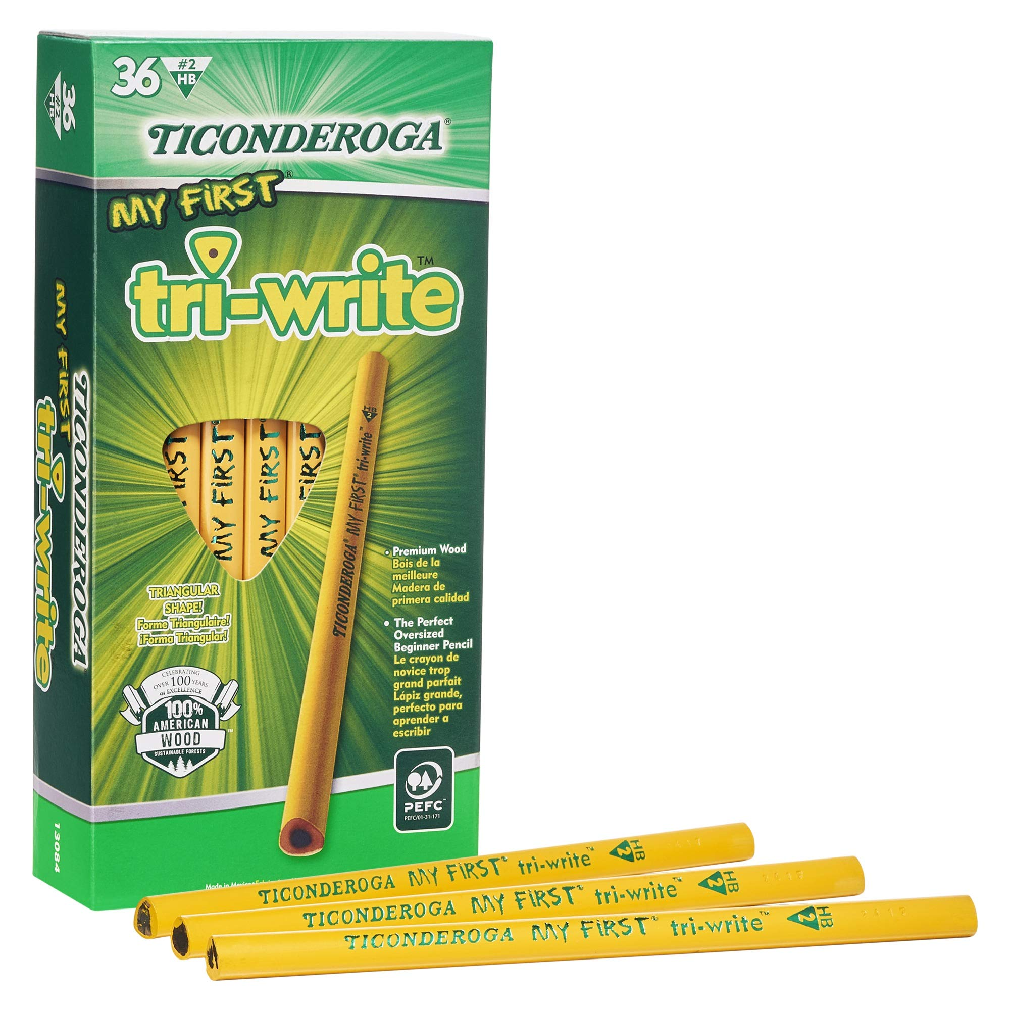 Ticonderoga My First Tri-Write Pencils without Eraser, Primary Size Wood-Cased #2 HB Soft, Yellow, 36-Pack (13084) by Ticonderoga