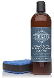 Therapy - Cooktop Cleaning Kit - Includes 16 oz. Bottle of Therapy Heavy Duty Cooktop Cleaner, 1 Scrubbing Pad