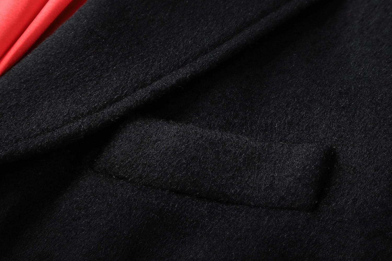 The Platinum Tailor Uomo Nero Cappotto di Lana /& Cashmere Covert Inverno Caldo Cappotto MOD con Velluto Collare Red Satin Fodera