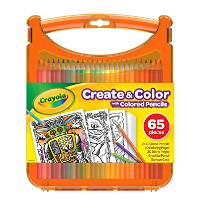 Crayola Create & Color with Colored Pencils, Travel Art Set, Great for Kids, Ages 4, 5, 6, 7, 8: Toys & Games
